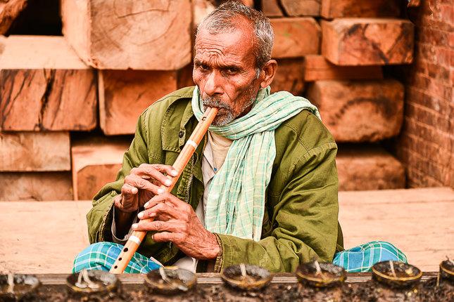 Flautista v Kathmandu