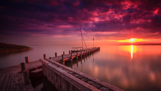 Západ slnka na Neziderskom jazere
