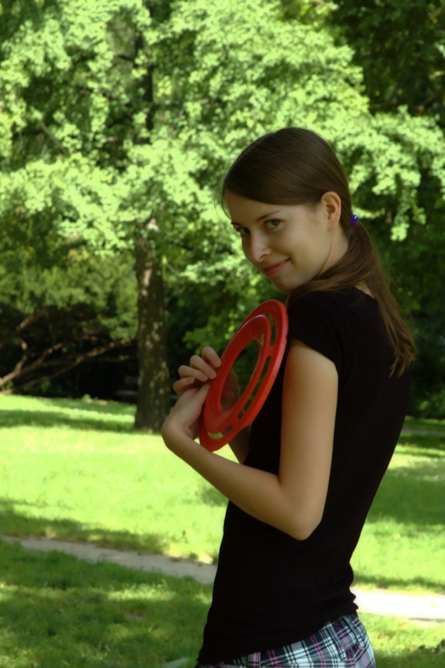 Young girl with frisbee