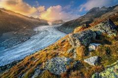 Rhonegletscher pri západe