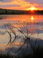 súmrak nad jazerom