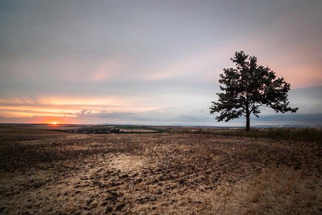 Západ slnka po žatve