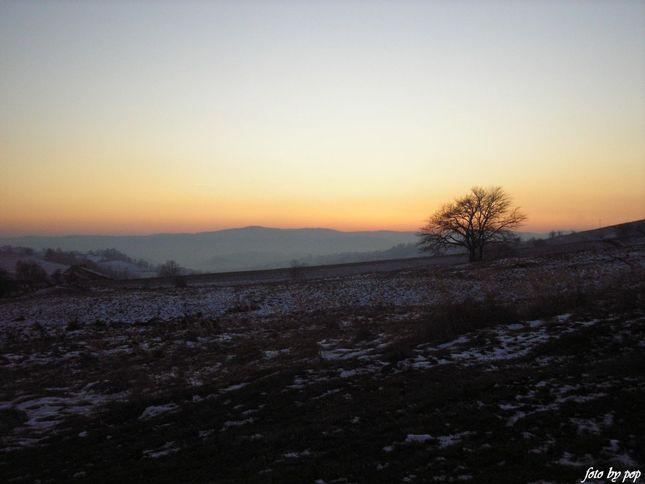 zimný západ slnka...