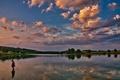 Západ slnka nad vodnou nádržou