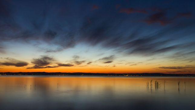 Západ slnka nad Balatonom