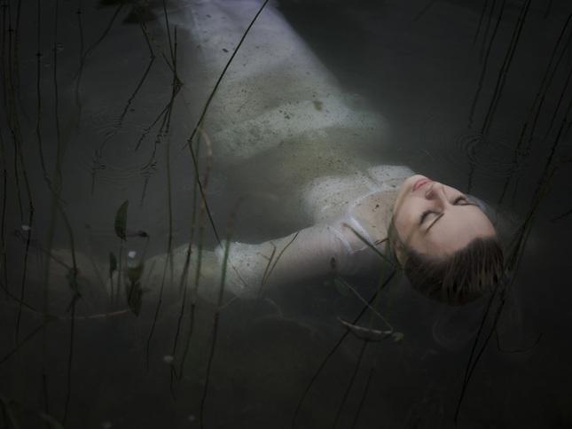 in a dark lake..