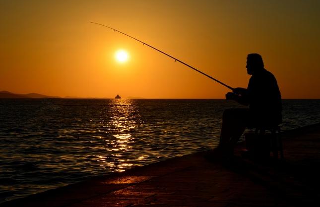 Rybárčenie pri západe