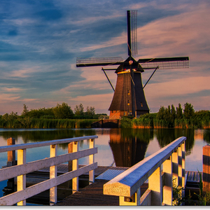 Kinderdijk at sunset