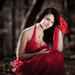Portrét v červených šatách