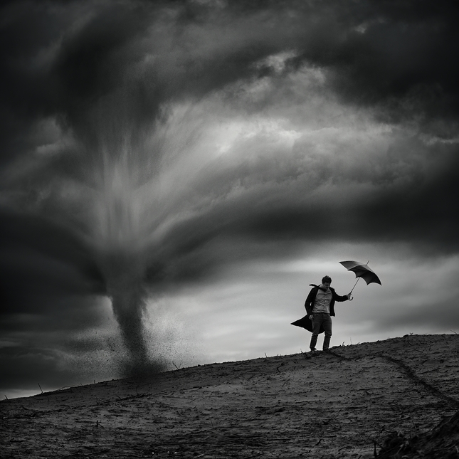 Muž vo vetre....