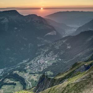 Západ slnka nad Wengenom