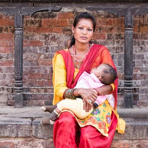 Nepálska madona s dieťaťom