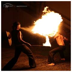 Shield on fire