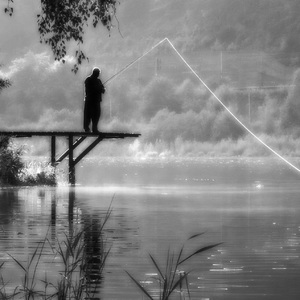 Misty fisherman