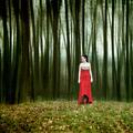 zena v lese