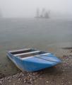 A boat lies waiting