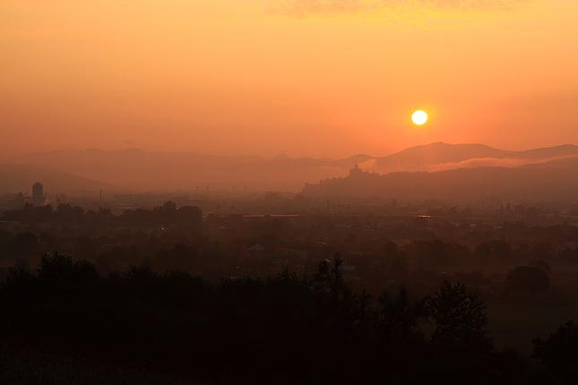 Sunrise colours over Trencin