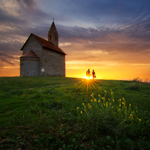 Love, church and sunset