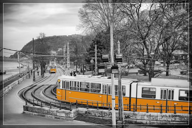 Žltá električka v Budapešti