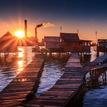 Západ slnka pri Bokodskom jazere