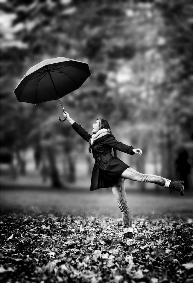 dievčina s dáždnikom