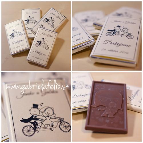 Čokoládky s potlačou so svadobným motívom