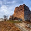 Zimný západ slnka na hrade Tematín