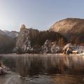 Winter sunrise at Strecno castle