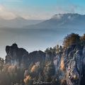 Hmlisté ráno v Saskom Švajčiarsku