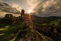 hrad Zborov  pri zapade slnka