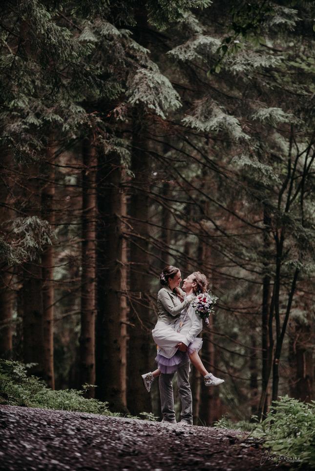 uprostřed lesů