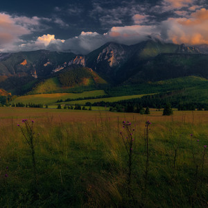 Belianske tatry pri západe slnka