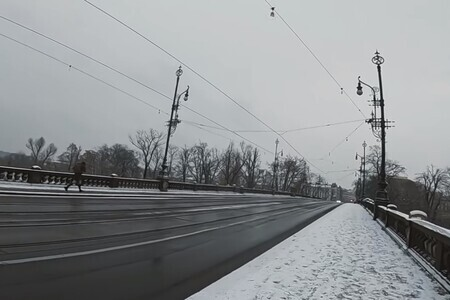 SNOW IN PRAGUE 20 Minutes POV Street Photography Video with Fuji